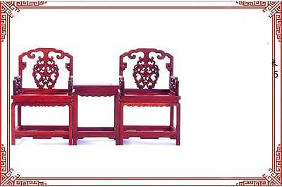 Chinese Old Pair of Red Wood Carve Flower Ornament Table Chair