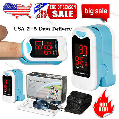Finger Pulse Oximeter Fingertip Blood Oxygen Meter SPO2 Heart Rate Monitor,Pouch