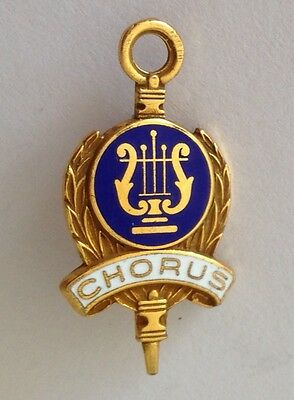 Chorus Group School Small Authentic Pin Badge Rare Music Harp (N9)