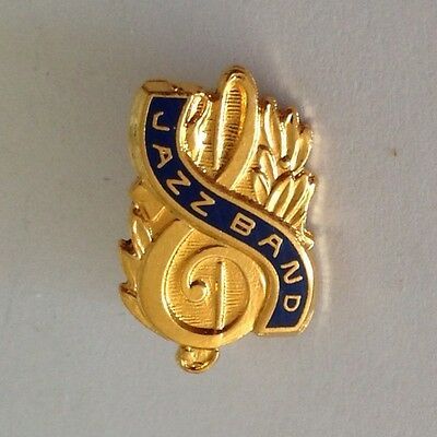 Jazz Band Treble Clef Gold Style Authentic Small Pin Badge Rare Music (N9)