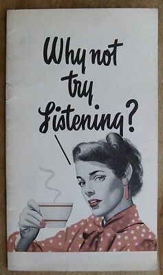 Vintage Pacific Telephone Booklet 1947 Gretta Palmer Why Not Try Listening? Vg+
