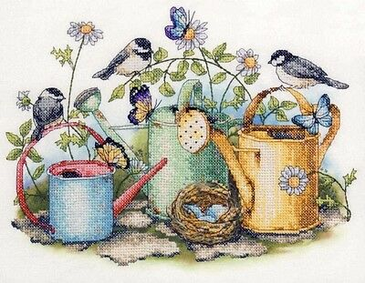 Birds on Watering Cans - Cross Stitch Chart - FREE POST