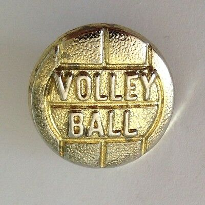 Volley Ball Golden Style Pin Badge Old Rare Original Bent Pin (N9)