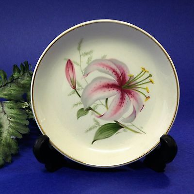Wood & Sons - 11cm Floral  Pin Trinket Dish - Lily, Gilt Rim