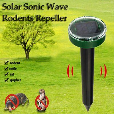 Ultrasonic Sonic Yard Solar Power Mouse Mice Mole Insect Pest Rodent Repeller US