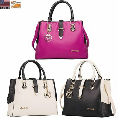 Ladies Women Designer PU Leather Shoulder Satchel Plain Handbag Laptop Tote Bag
