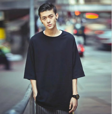 New Men's Basic Crew Neck Hip Hop Men's T-Shirt Long Extended Casual T-Shirt