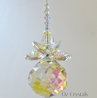 Large Guardian Angel Suncatcher made with Swarovski Crystal AB Octagons & Beads