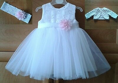 3 piece BABY GIRLS OUTFIT TO BAPTISM  PARTY DRESS CHRISTENING 3-6 MONTHS NEW