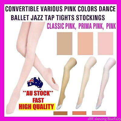 Convertible Tights Dance Stockings Ballet Various Pink Colors Children & Adult