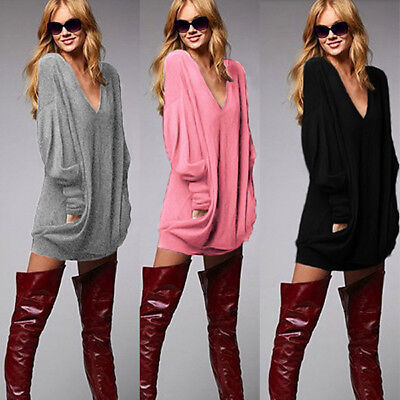 Fashion Womens Casual Loose Pullover V neck Long Sleeve Top Blouse  T-Shirt