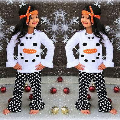 US Stock Toddler Kids Girls Clothes Snowman Tops Dot Pant Headband Outfits NEW