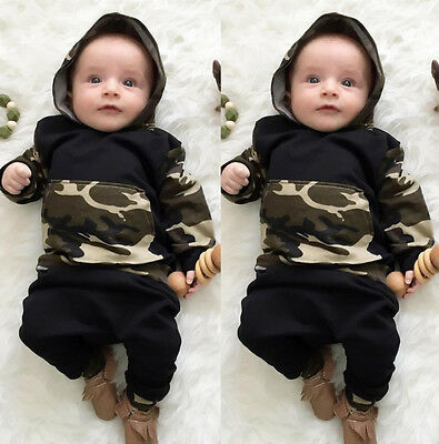 US Stock Infant Baby Boys Clothes Cotton Hooded Tops Pants 2Pcs Set Outfits NEW