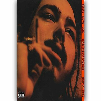 Congratulations Post Malone Feat Quavo Silk Poster Custom Wall Decor 24x36 Inch