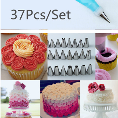 38 Piece Cake Decorating Kit Tips Icing Tip Set Tools Pastry Bag Stainless Steel