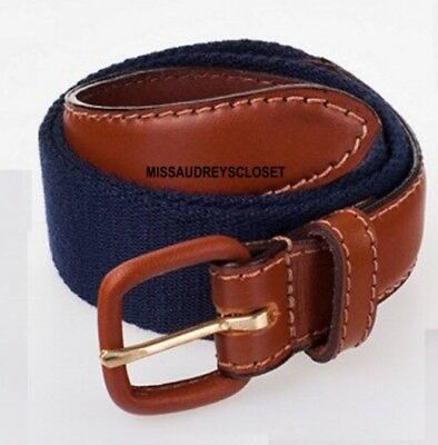 American Apparel Children's Navy Blue Brown Leather Belt Buckle Kids Large 8-10