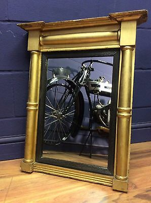 Antique empire style gilt and ebonised pier glass mirror C.1880
