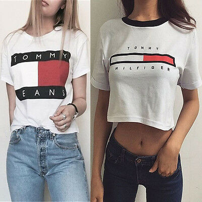 Casual Women Crop Top Letters Printed Short Sleeve Blouse Sports T-Shirt