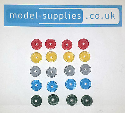 Dinky Reproduction Standard Car Size Set of 4 Plastic Road Hubs - 5 Colours