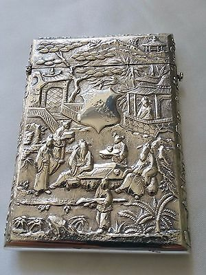 Rare Stunning Antique Export Silver Chinese Card Case By Luen Wo Of Shanghai
