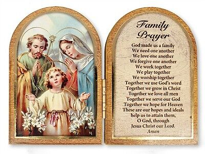 The Holy Family Jesus Mary Wooden Prayer Plaque Pictures Candles Statues Listed
