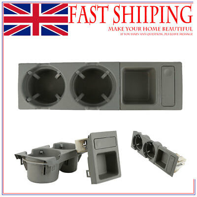 Grey Front Console Storing Coin Box+Cup Holder For BMW E46 318 320 325 330as07