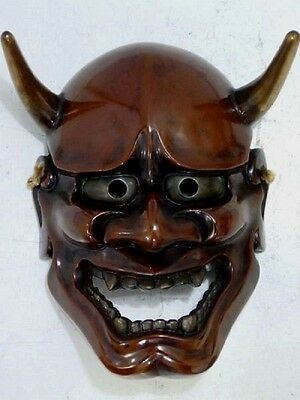 Japanese Theater Noh Mask Hannya Demon Mask Kyougen Kagura Bugaku Signed Wood