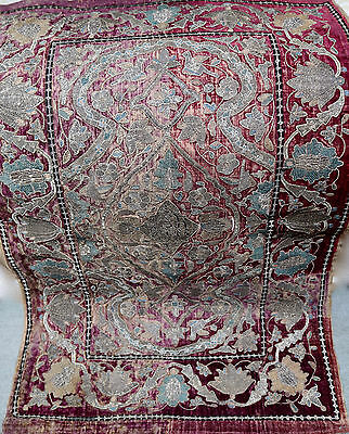 Antique Persian Embroidered Cover Metallic Threads Islamic Calligraphy Ottoman