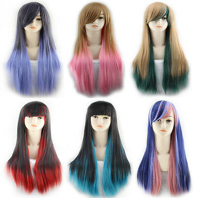 Gradient Mixed Long Curly Full Hair Wig Women Cosplay Straight hair 6 color