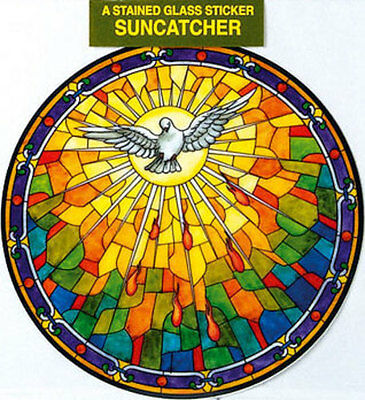 Holy Spirit Stained Glass Sun Catcher Sticker Statues Candles Pictures Listed