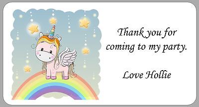 24 x Personalised Stickers Unicorn Rainbow Labels Thank You Party Address