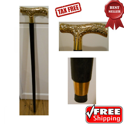 """Victorian Style Wood Walking Stick Cane with Brass Handle Black Wooden Shaft 36"""""""