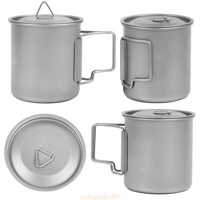 Titanium Water Cup 420ml Drinkware Mug Outdoor Folding Handle Camping Picnic as0