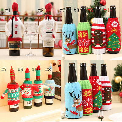 Santa Claus Wine Bottle Cover Xmas Dinner Party Christmas Decoration Ornament
