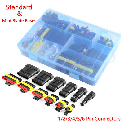 1 2 3 4 5 6 Pin Car Waterproof Electrical Terminal Wire Connector + Fuses Case