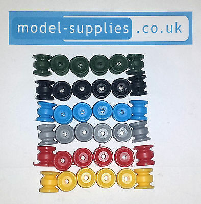 Dinky Reproduction Truck Size Plastic Double Rear Divided Road Hubs - 6 Colours