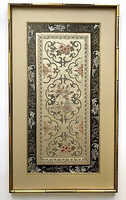 A Framed Chinese Forbidden Stitch & Gold Thread Framed Textile Panel