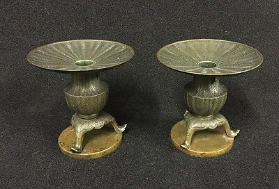 A Pair Of Antique Meiji Era Patinated Bronze Basket Weave Japanese Bronze Vases