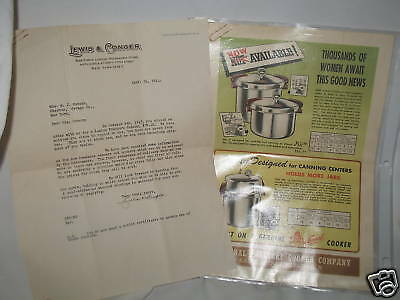 1944 Letter from Lewis & Conger Canning Pressure Cooker with Colored Ads