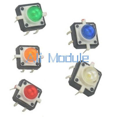 5PCS 12X12X7.3 Tactile Push Button Switch Momentary Tact LED 5 Color AM