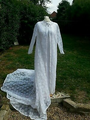 Vintage 1960s Original Wedding Dress White Satin/ Lace  uk Handmade