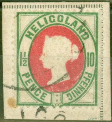 Heligoland 1887 10pf (1 1/2d) Scarlet & Pale Blue-Green SG14a Fine Used on Piece