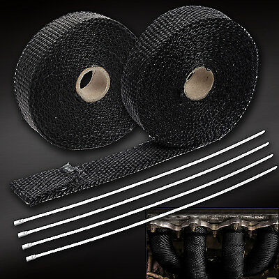 5m Car Motorcycle Fiberglass Exhaust Header Turbo Pipe Heat Wrap With 4 Ties