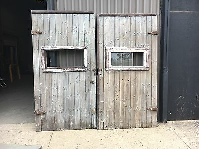 "gorgeous pair of 19th century wooden barn doors 8' x 50"" (each) wide traces red"