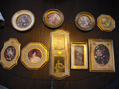 Lot of 9 Vintage Made in Italy pictures on  gold gilt wood frame Florence