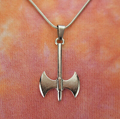 Large Labrys Necklace, Double Bladed Axe, Female Symbol Strength Stainless Chain
