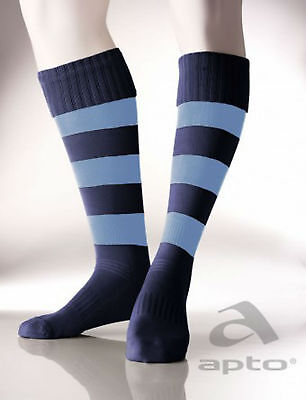 Football/rugby socks hooped design cushioned foot navy/sky all sizes