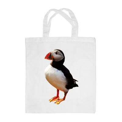 TOTE BAG WITH puffin design linen mix fabric and contrasting