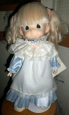 "Precious Moments 15"" Missy Doll With Stand Blue Dress ""Happiness is The Lord"" BC"