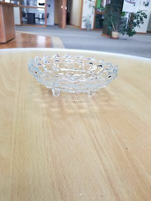 """Vintage 6"""" Clear Cut Glass Footed Candy, Nut, Trinket Dish"""